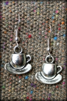 Cup and Saucer earrings, silver plated fish hooks, £6
